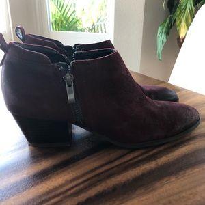 Franco Sarto maroon cropped boot